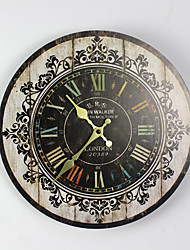 Traditional Country Retro Floral/Botanicals Characters Music Wall Clock Round  Indoor/Outdoor Clock