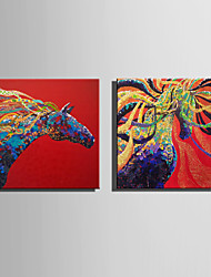 E-HOME Stretched Canvas Art Flying Colored Horse Decoration Painting One Pcs