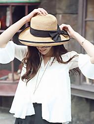 Women Sweet Straw Sun Beach Wide-brimmed Hat Bowknot Casual Summer