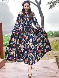 vent national des femmes d'impression de coton&# 39; 2017 printemps modèles dames de tempérament grande robe jupe belle robe