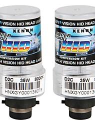 2pcs D2C xénon remplacement de faisceau unique blanc ampoules phare 12v 35w 8000k