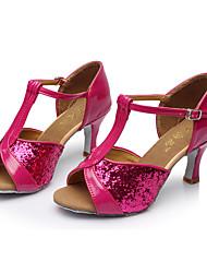 Non Customizable Kids' Dance Shoes Paillette Latin Sandals Stiletto Heel Indoor