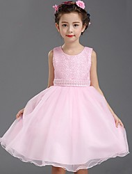 Ball Gown Knee-length Flower Girl Dress - Organza Jewel with Sequins
