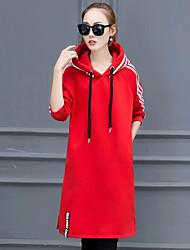 2016 femmes coréennes, plus épais coutures de velours était mince hitz rayé robe à capuche fente