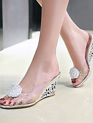 Women's Sandals Transparent Spring Summer Fall Other PVC Party & Evening Dress Casual Wedge Heel Flower Silver Gold