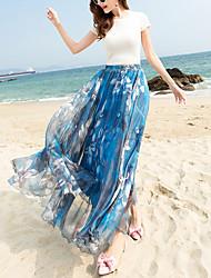 Women's Beach Holiday Midi Skirts,Boho Swing Floral Spring Summer