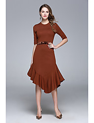 ZRANFANG Going out Formal Party/Cocktail Sexy Cute Swing DressSolid Round Neck Asymmetrical  Length Sleeve Polyester Black Brown Green SpringMid
