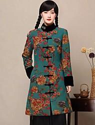 Manteau Femme,Couleur Pleine Sortie simple Manche Longues Col de Chemise Repasser à l'envers Coton Normal Printemps Hiver