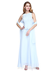 LAN TING BRIDE Linha A Vestido Para Mãe dos Noivos - Bolero Incluso Até o Tornozelo Sem Mangas Chiffon - Miçangas