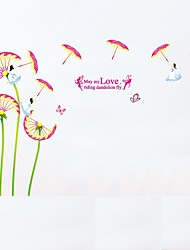 Cartoon Dandelion Flower Umbrella Wall Stickers Fairy Wall Decals May My LOVE Riding Dandelion Fly Quote Removable Kids Sticker