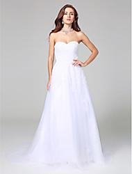Vestido de casamento de cetim de tuleleira com linha de casamento com apliques de beading