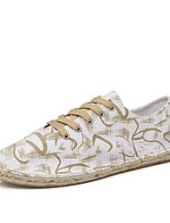 NEW Men Print Linen Shoes Flats Comfort Light Soles Linen Outdoor Office & Career Casual Flat Heel Lace-up Shoes