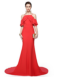 TS Couture Formal Evening Dress - Elegant Celebrity Style Sheath / Column Spaghetti Straps Floor-length Chiffon with Pleats