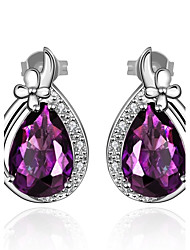 Stud Earrings Amethyst AAA Cubic Zirconia Crystal Zircon Cubic Zirconia Copper Gold Plated Luxury Jewelry Drop Purple Jewelry Daily Casual