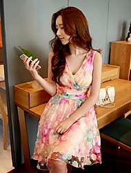Feminino Evasê Bainha balanço Vestido,Para Noite Festa/Coquetel Férias Boho Fofo Sofisticado Floral Estampa Colorida Decote VAcima do