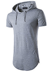 Men's Sports Casual/Daily Simple Summer T-shirt,Solid Hooded Short Sleeves Cotton