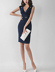 Women's Party Club Sexy Street chic Sheath Dress,Solid V Neck Above Knee Sleeveless Polyester Spandex Summer High Rise