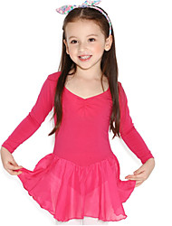 Ballet Dresses Children's Training Cotton Ruffles Splicing 1 Piece Long Sleeve Natural Leotard
