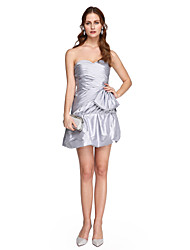 A-Line Sweetheart Short / Mini Stretch Satin Cocktail Party Homecoming Prom Dress with Pleats