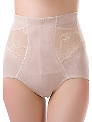 Women's Sexy Jacquard Slimming High Waist Body Shaping Panties Nylon Spandex Female Underwear Beige