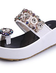 Women's Sandals Summer Light Soles PU Office & Career Party & Evening Dress Wedge Heel Rhinestone Applique White Silver Walking