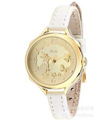 Men's Women's Fashion Watch / Quartz Leather Band Casual White Gold Pink