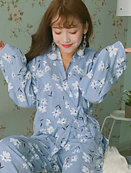 Spring and autumn cute Japanese cotton kimono pajamas female Korean long-sleeved cardigan thin section tracksuit suit