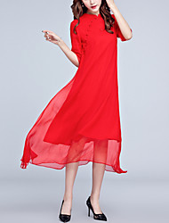 Damen Lose Swing Kleid-Ausgehen Party/Cocktail Street Schick Chinoiserie Solide Ständer Midi Kurzarm Rot Seide Sommer Mittlere Hüfthöhe