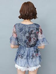 sinal verão camisa nova chiffon versão coreana do grande tamanho mulheres soltas rodada manga pescoço camisa de seda de impressão