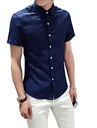 Men's Plus Size Casual/Daily Formal Vintage Simple Street chic Summer Shirt,Solid Shirt Collar Short SleeveBlue Pink White Black Green