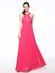 2017 Lanting Bride® Floor-length Chiffon Elegant Bridesmaid Dress - A-line Jewel with Pleats