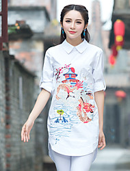 Spring cotton embroidered shirt Women yards shirt loose Chinese embroidery Chinese style national wind shirt
