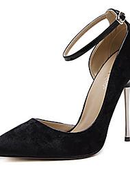 Women's Heels Spring Club Shoes Fleece Dress Stiletto Heel Buckle Black Burgundy Khaki