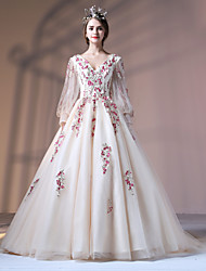 Ball Gown Princess V-neck Court Train Polyester Lace Tulle Formal Evening Dress with Beading Appliques Embroidery Flower(s) Lace Pearl