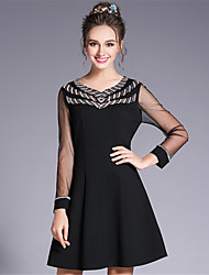 Women's Going out Casual/Daily Party/Cocktail Sexy Vintage Sophisticated A Line Sheath DressSolid Patchwork Sequins Beaded Mesh