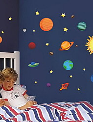Planets of The Solar System Cartoon Wall Sticker Vinyl Material Home Decoration