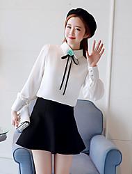 пользовательские утолщение весной 2017 шифон белую рубашку женщин с длинными рукавами, воротник рубашки блузка новой карьеры цветы