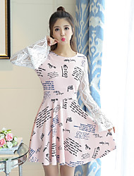 Sign new print dress new trumpet sleeves Slim thin long-sleeved lace big skirt