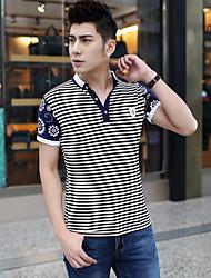 Männer&# 39; s Kurzarm-T-Shirt der koreanischen Jugend Gezeiten männlichen gestreiften Körper Shirt Körper Reparatur Kleidung 2017