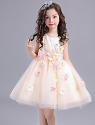 Ball Gown Short / Mini Flower Girl Dress - Cotton Satin Tulle Jewel with Embroidery Flower(s)