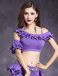 Belly Dance Tops Women's Training Modal Pleated 1 Pieces Short Sleeve Natural Top