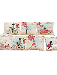 Set of 7 Valentine's Day style  Linen  Cushion Cover Home Office Sofa Square  Pillow Case Decorative Cushion Covers Pillowcases
