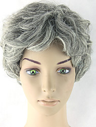 Bob Wave Curly Grey Natural Heat Resistant Gradient Color Fake Hair Wigs Heat Resistant Synthetic Wigs