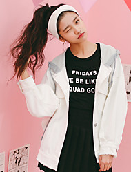 Japan and South Korea to build a lot of precise gold Korean white female leisure wild hooded denim jacket short paragraph