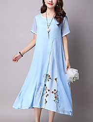 Women's Formal Work Vintage Sophisticated Swing Dress,Print Round Neck Knee-length Short Sleeve Rayon Polyester All Seasons Mid Rise