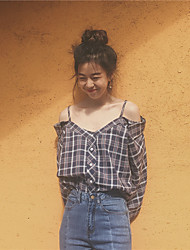 Sign Korean Chic retro strapless sling cotton plaid shirt personality hit the color plaid shirt