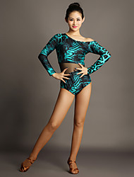 Latin Dance Leotards Women Performance Tulle Velvet Splicing 1 Piece Long Sleeve Natural Leotard