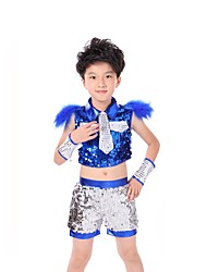 Jazz Outfits Kid's Performance Spandex Sequin 3 Pieces Sleeveless Dropped Tops Bracelets Shorts