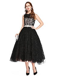 TS Couture Prom Formal Evening Dress - Elegant A-line Bateau Tea-length Lace Tulle with Beading Lace Pleats