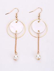 The European And American Fashion Circle Pearl Earrings Elegant Long Eardrop Geometry Shell Earrings